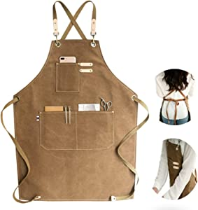 Chef Apron, Cotton Canvas Cross Back Adjustable Apron with Pockets for Women and Men, Kitchen Cooking Baking Bib Apron, Adjustable Strap and Large Pockets,Canvas, M-XXL- Cappuccino Brown