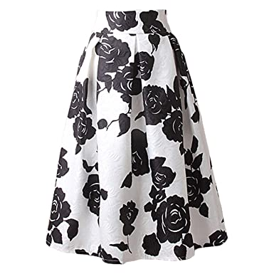 bde6a69cfa Jeremy Martin Line Midi Skirt Women Pleated High Waist Skirt Vintage Floral  Print Casual Summer Fashion