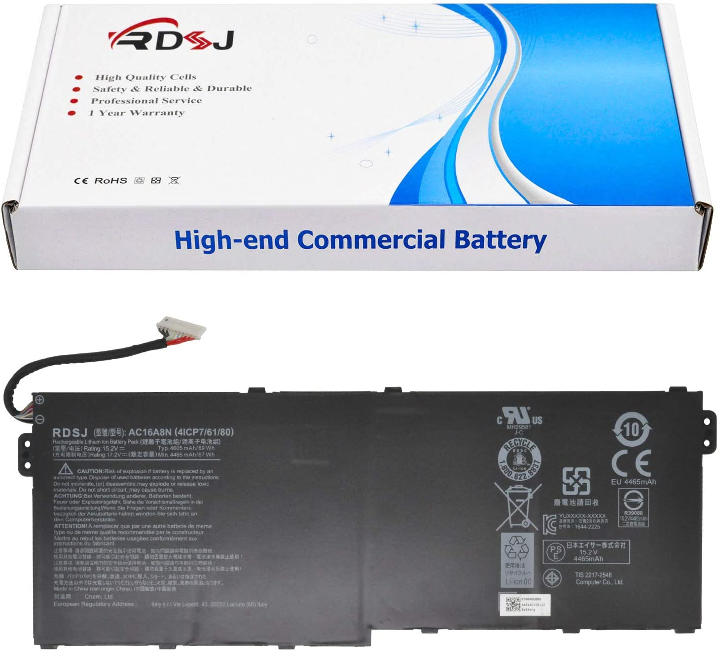 AC16A8N Laptop Battery Compatible with Acer Aspire V15 Nitro BE VN7-593G V17 Nitro BE VN7-791G-792A VN7-792G VN7-792G-74Q4 VN7-793G-706L VN7-793G Series 15.2V 69Wh