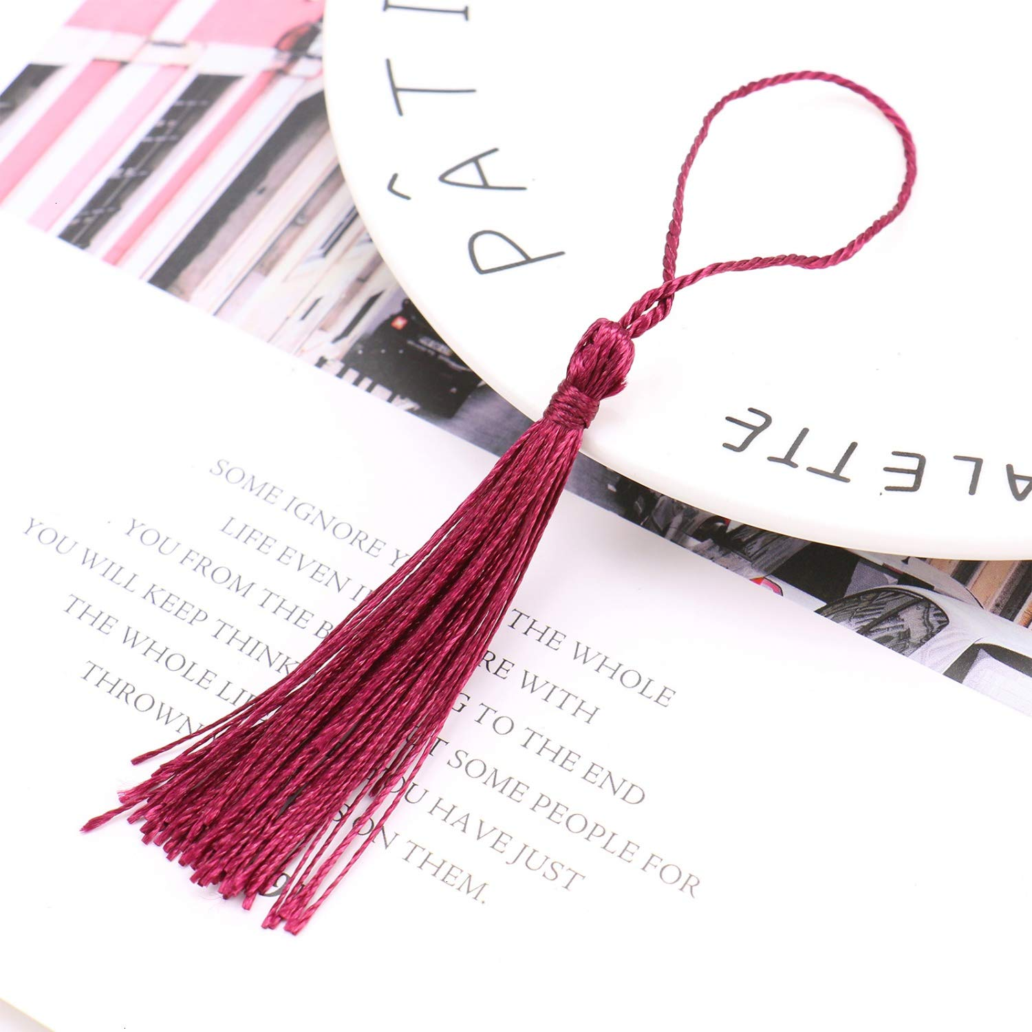 Monrocco Bookmark Tassels Burgundy 150 PCS Silky Floss Bookmark Tassels with Cord Loop for Jewelry Making DIY Projects Bookmarks