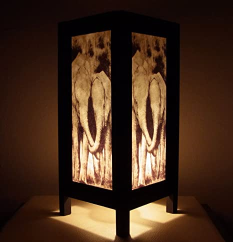 Indy Thai Handmade Asian Oriental Family Elephant Bedside Table Light Or  Floor Wood Paper Lamp Shades