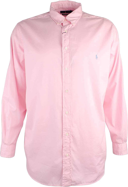 Polo Ralph Lauren Mens Classic Fit Garment Dyed Chino Shirt Pink, XL