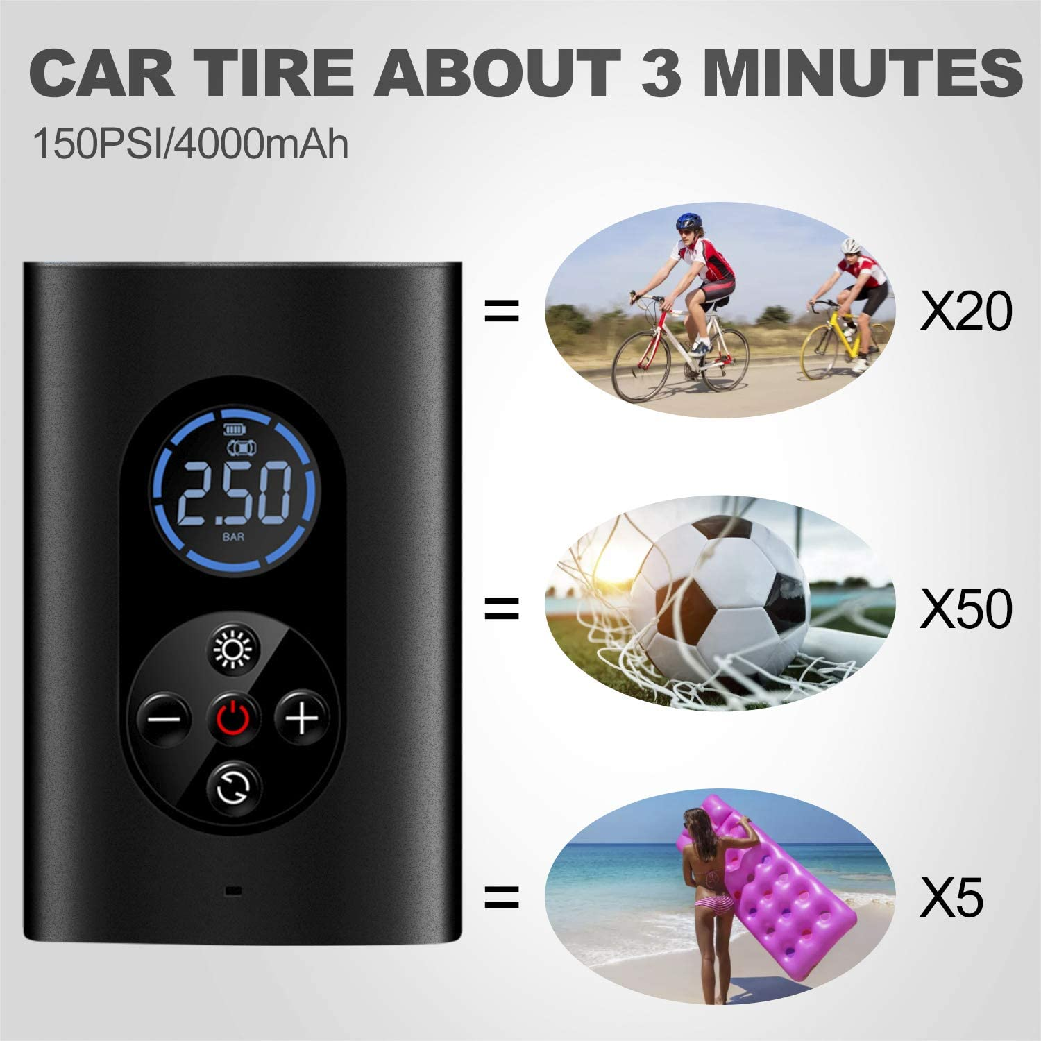 Extra-large Capacity 4000mAh Rechargeable Inflation balls and other inflatable Cordless Tire pump Handheld Tire inflator with LED Lighting and Digital Display for Bicycles Portable Air Compressor