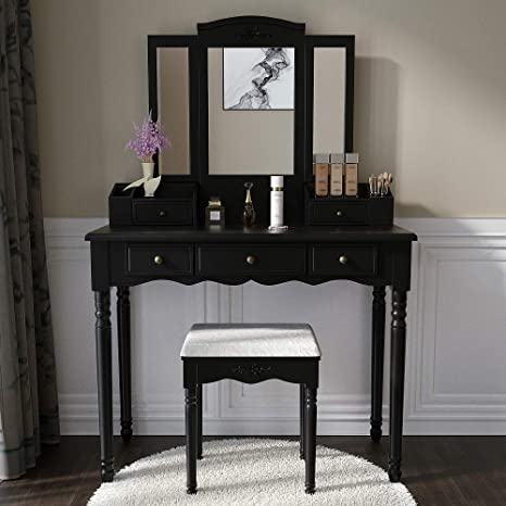 Vanity Set Makeup Vanity Desk Dressing Table with Mirror, Drawers and Stool  for Corner Bedroom, Girls in Black
