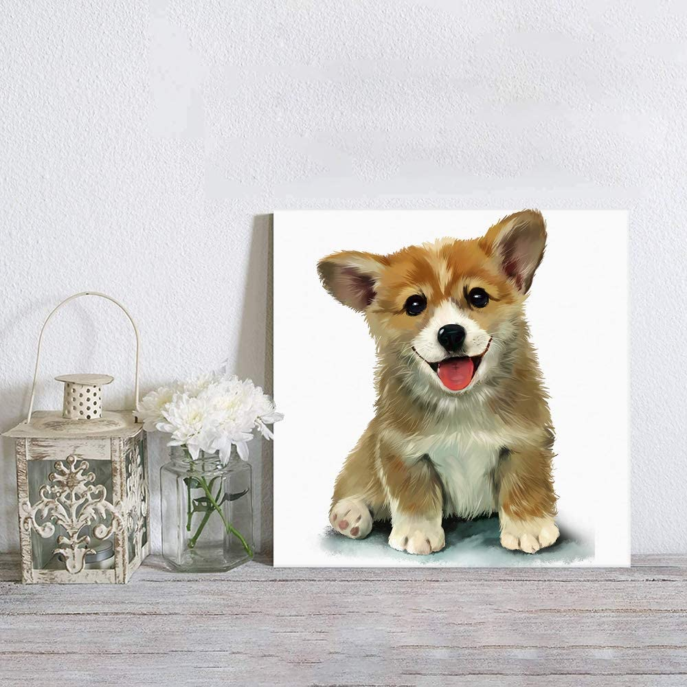 Canvas Wall Art Decorations Smart and Cute Corgi Puppy Poster & Picture Prints Canvas Artwork for Living Room Bedroom Kitchen Office Home Decor, Ready to Hang 1 Panel 12