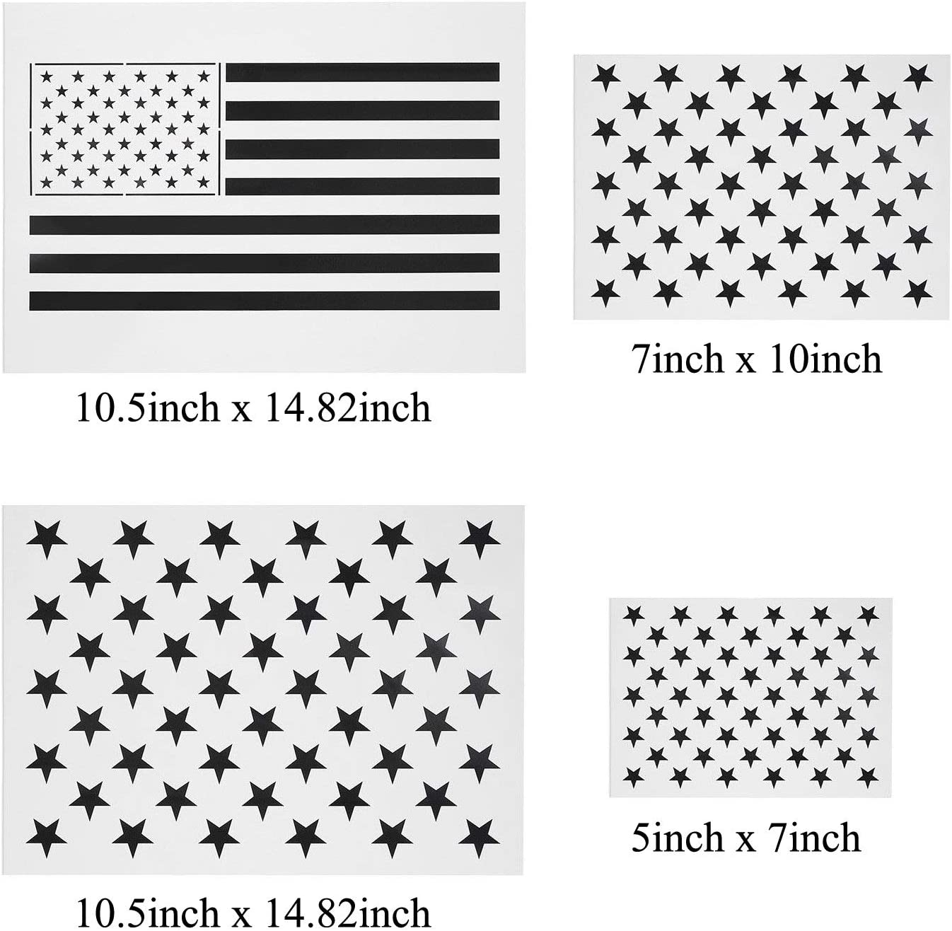 1Medium 1Small and American Flag Airbrush,Reusable Starfield Stencil 1Large Vkey 50 Stars American Flag Stencils for Painting on Wood Fabric