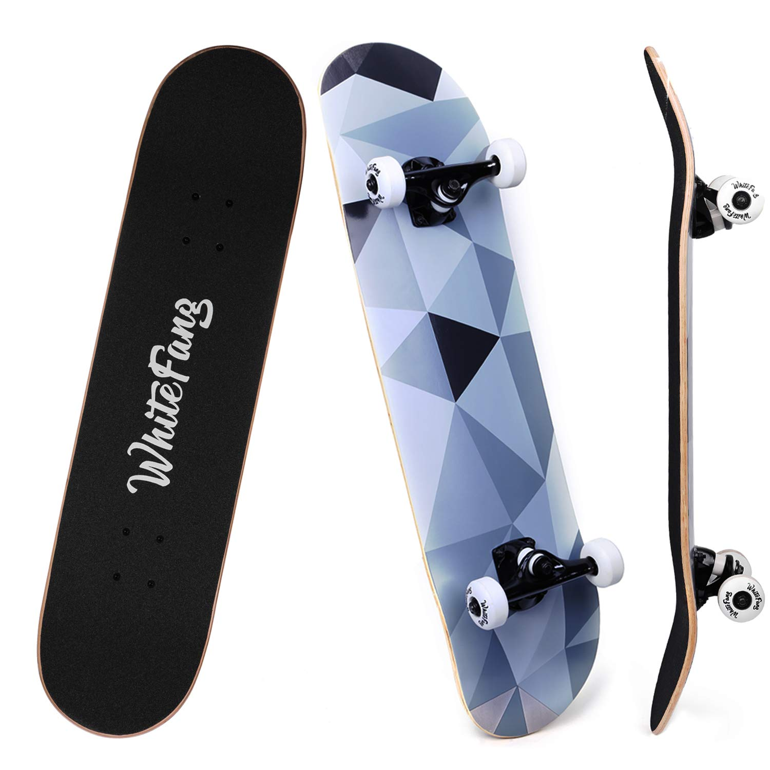 WhiteFang Skateboards for Beginners, Complete Skateboard 31 x 7.88, 7 Layer Canadian Maple Double Kick Concave Standard and Tricks Skateboards for Kids and Toddles (Diamond) by WhiteFang