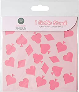 Poker Suits Cookie Stencil for Food Decorating. 1 Piece Cookie Cutter Kingdom Stencil for Royal Icing or Food Spray. 5.5 x 5.5 Inch Size. Playing Cards Stencil.