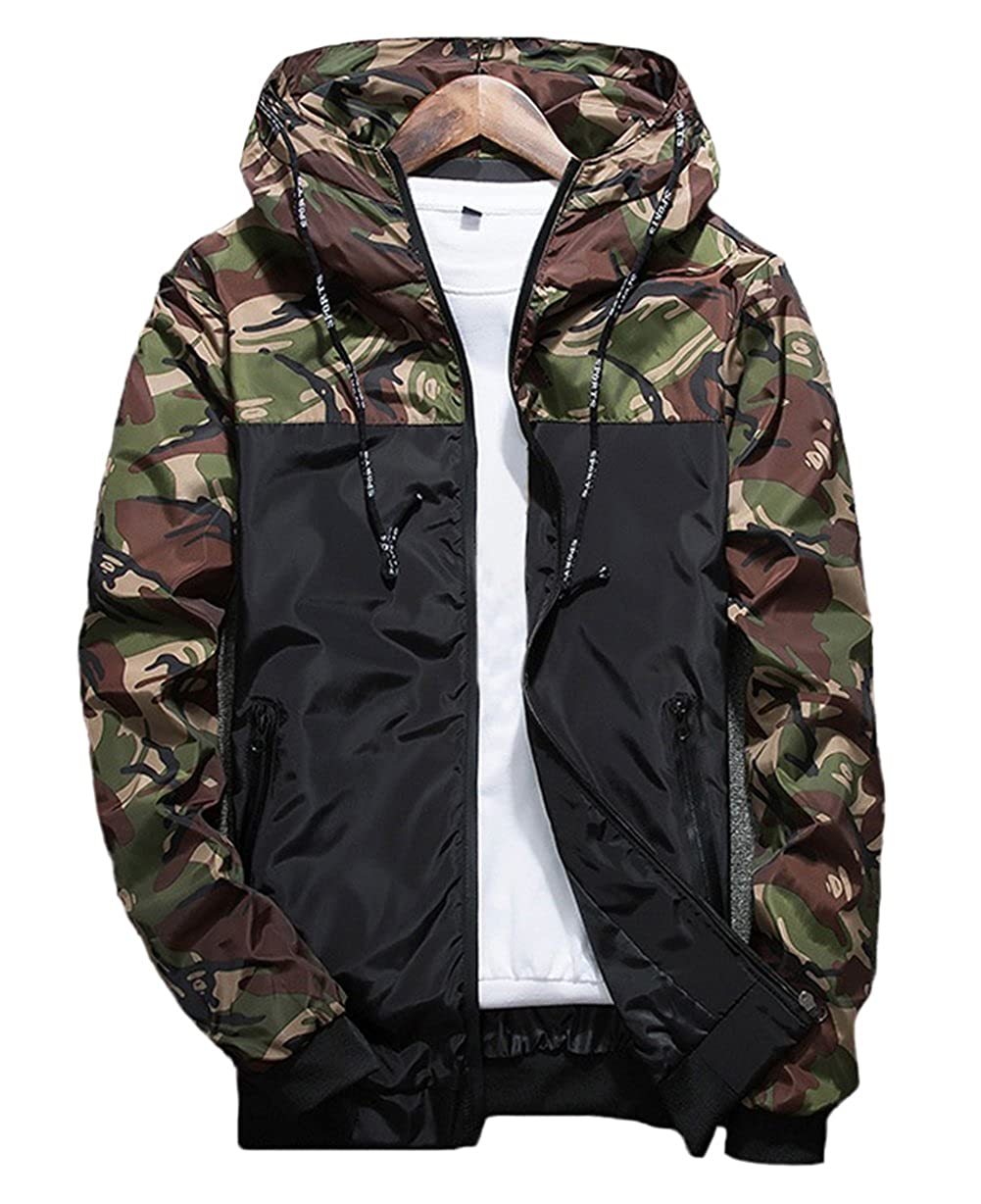XARAZA Men's Long Sleeve Camo Hoodie Jacket Outwear Hooded Windbreaker Winter Clothes