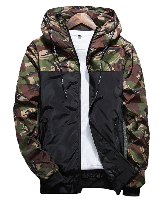 XARAZA Men's Long Sleeve Camo Hoodie Jacket Outwear Hooded Windbreaker (US-XL=Tag 3XL(Asian Size), Green)