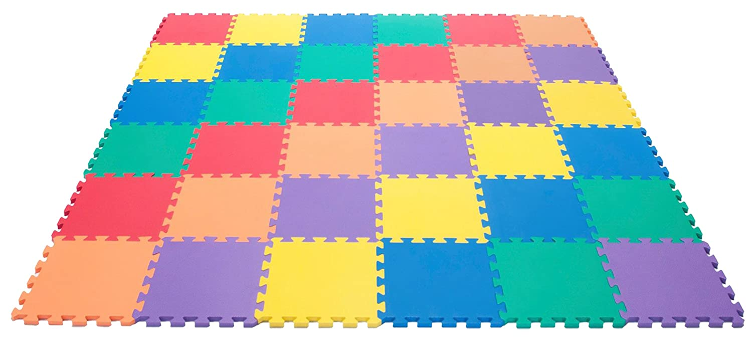 Wonder Mat Non-Toxic Non-Recycled Extra Thick Rainbow Foam, 6 Colors, 36 Pieces eWonderWorld 116 7W-Z74R-11H1