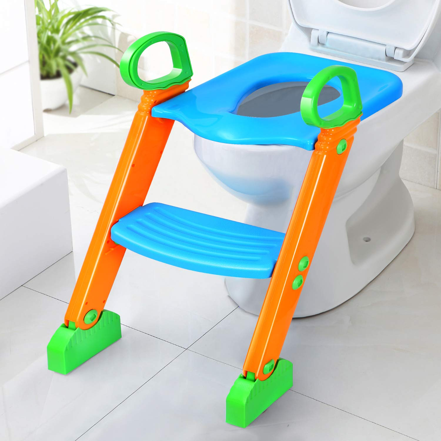Mangohood Potty Training Seat with Step Stool Ladder and Handles for Baby Toddler Kid Children Boys and Girls Toilet Training Chair with Padded Soft Cushion and Non-Slip Wide Step Green Blue PU