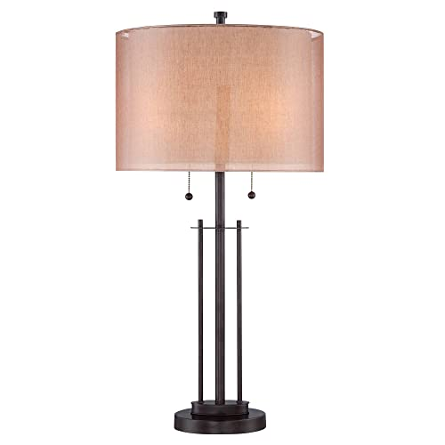 Howell Modern Table Lamp Bronze Metal Base Rose Gold Soft Tan Linen Fabric Double Drum Shade for Living Room Family Bedroom – Franklin Iron Works