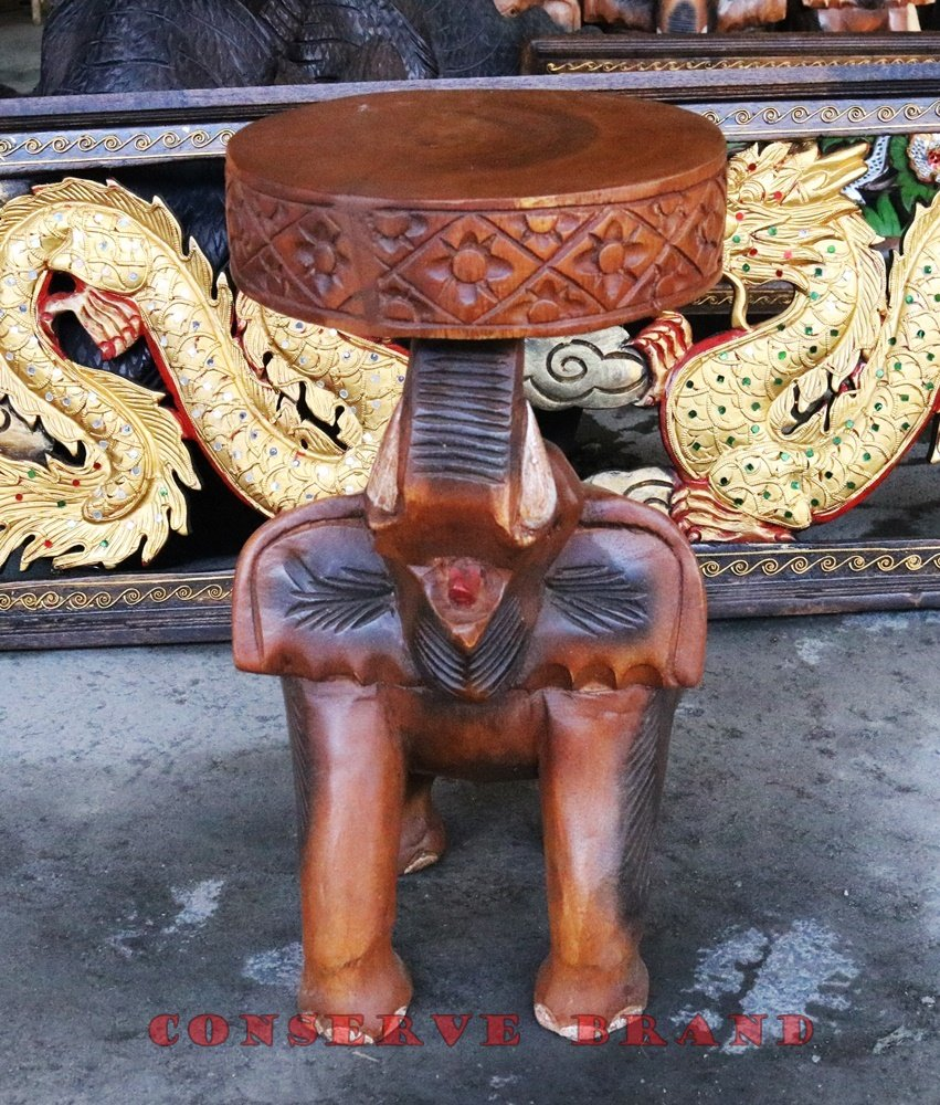 Chang Thai, Elephant Table Diameter 8.5 inches x Heigh 16 inches Carved Elephant With Livos Walnut Oil Finish. By Conserve Brand by Conserve Brand