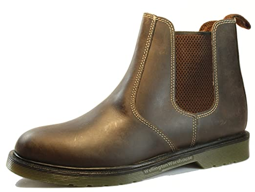 Oaktrak - Botines chelsea de cuero hombre, color marrón, talla 12 UK