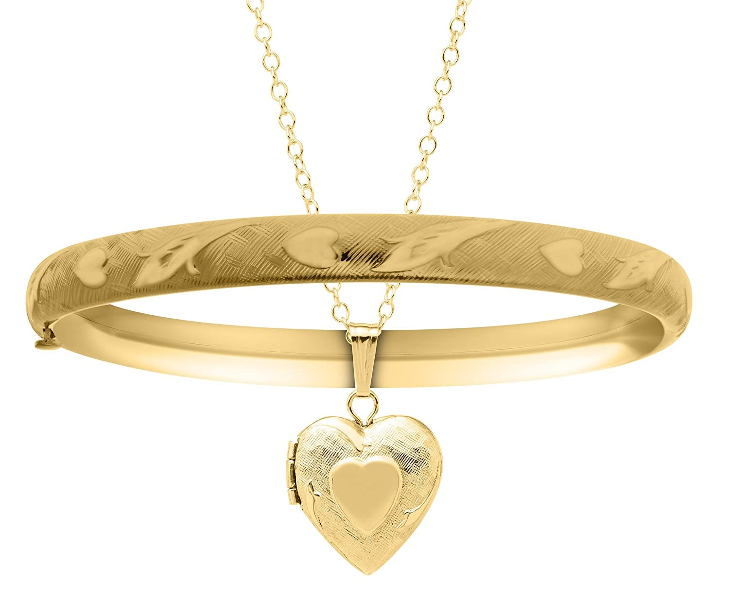 JAMBS JEWELRY HEART NECKLACE AND BANGLE BRACELET 14KT YELLOW GOLD FOR CHILDREN