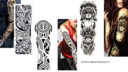 3 Sheet completa brazo tatuaje falso tatuaje indio tribal rosas ...