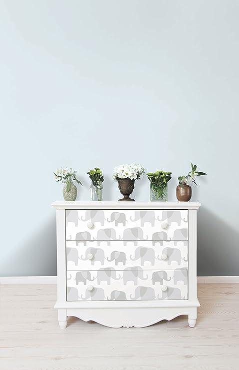 Amazon Com Wall Pops Nu1405 Gray Elephant Parade Peel And Stick Wallpaper Home Improvement