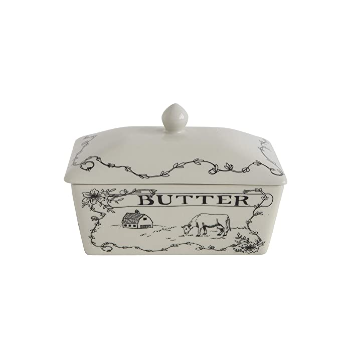 Creative Co-Op Country Style Butter Dish, White and Black
