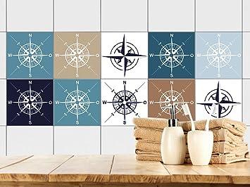GRAZDesign 770395_15x15_FS20st Fliesenaufkleber Kompass Maritim |  Fliesenbilder Für Bad | Blau   Weiß   Braun |