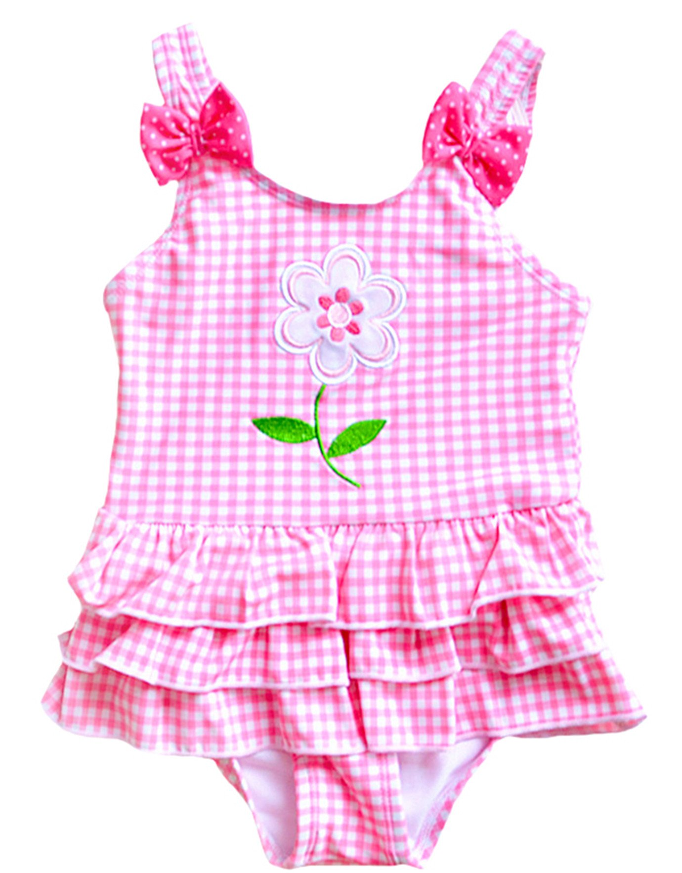 Meeyocc Baby Girls' One Piece Swimsuit UPF 50+ Grid Flower Baby Girls Summer Cute Swimsuit Kids Swimwear Bathing Suit Pink 3-4Y