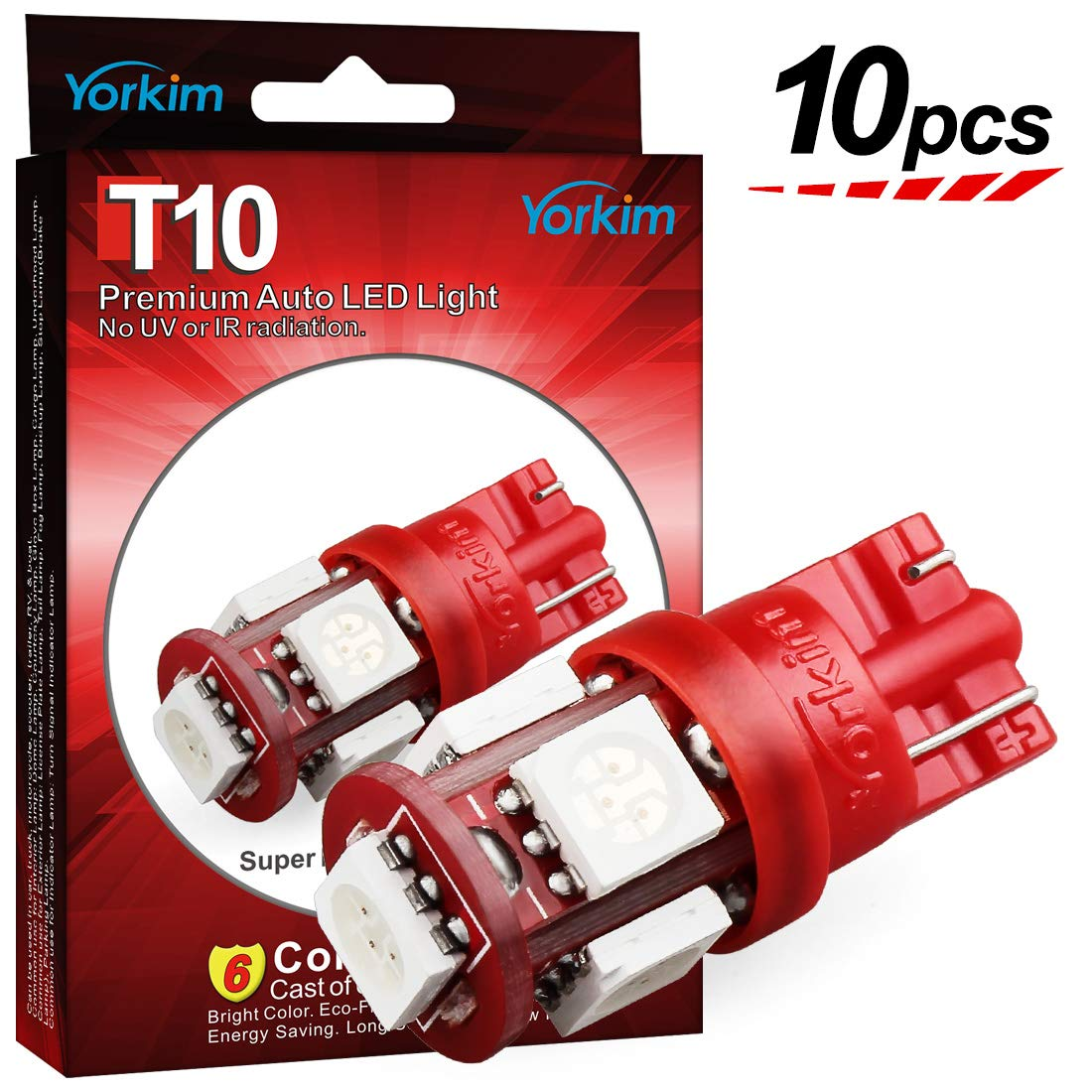 Yorkim T10 LED Bulb Red 6000k Super Bright Newest 5th Generation Universal Fit Pack of 10, Red T10 LED Bulbs, 168 LED Bulb, 2825 LED Bulb Red, W5W LED Bulb, Red 194 LED Interior Lights for Car