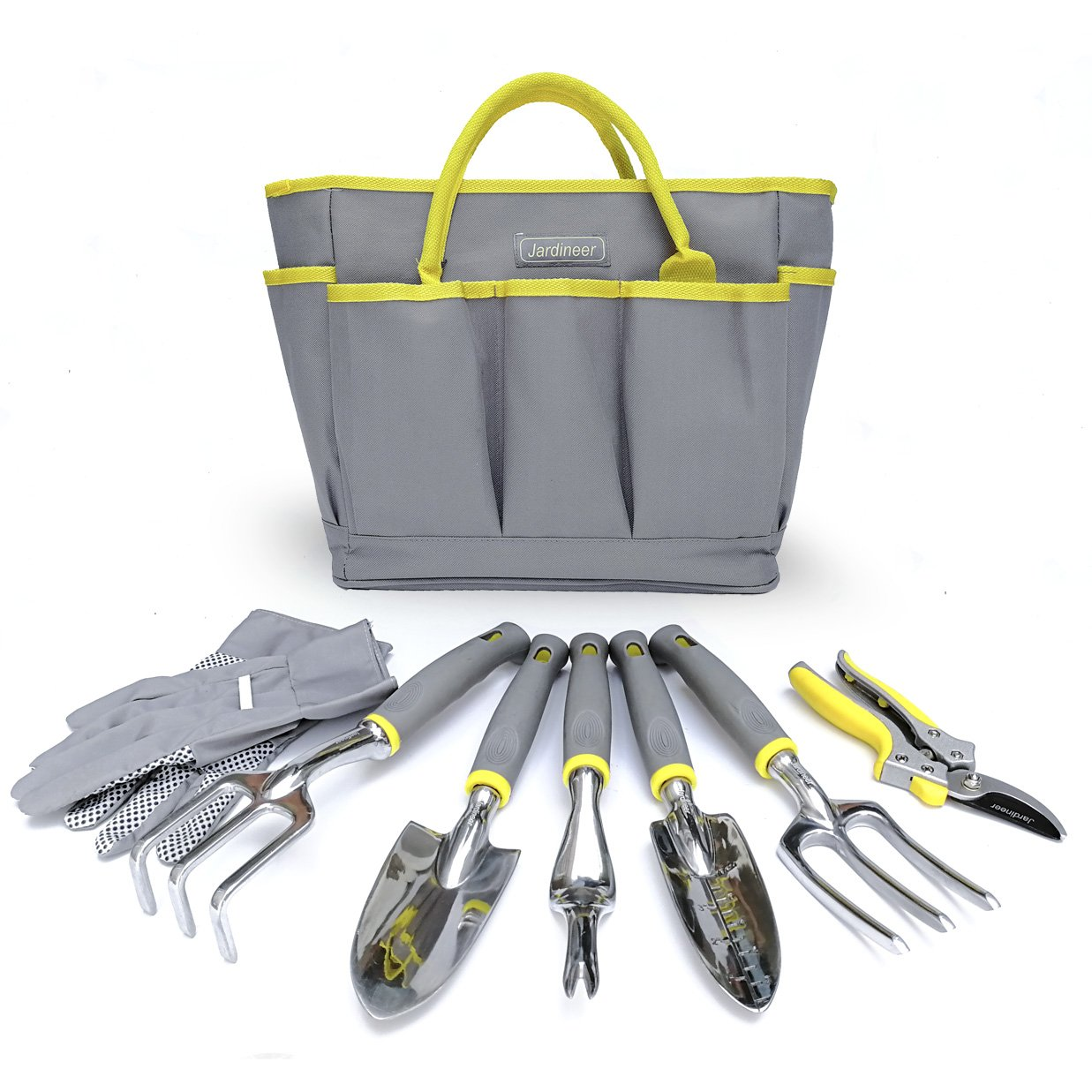 Garden Tools set with Garden Gloves and Tool Bag, 8 Piece Heavy Duty Gardening tools with Trowel and Pruning Shears, Garden Gifts for Women&Men by Jardineer