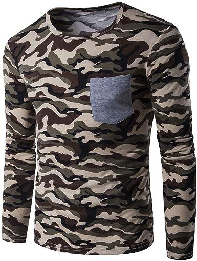 Camisa De Manga Larga De Verano Camuflaje Deportivo para Basic Hombre Camiseta De Manga Larga Hecha De Mezcla De Algodón Moteada: Amazon.es: Ropa y accesorios