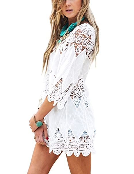 e2116011e0 Women's Bathing Suit Cover Up Lace Crochet Tunic Bikini Beach Dress (M,  White)