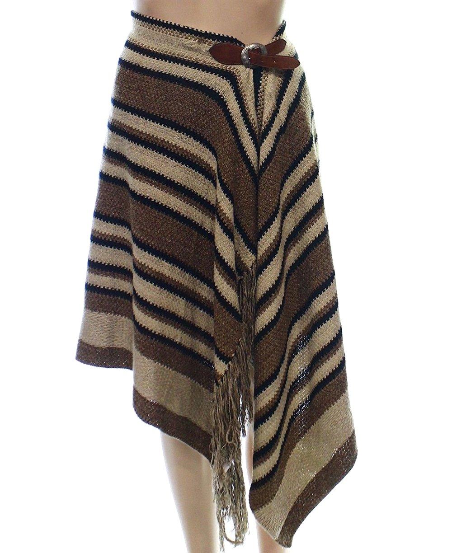 Polo Ralph Lauren Women's Fringe-Trimmed Knit Wrap Skirt (Large, Brown/Black)