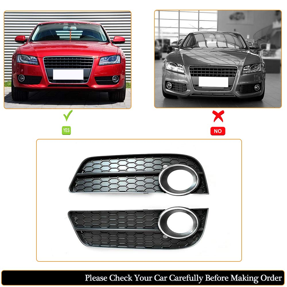 MCARCAR KIT Front Fog Light Grille fits Audi A5 B8 Pre-facelift Base 2Door 4Door 2008-2011 Customized Side Bumper Lower Honeycomb Hex Mesh Lamp Vent Grill Cover