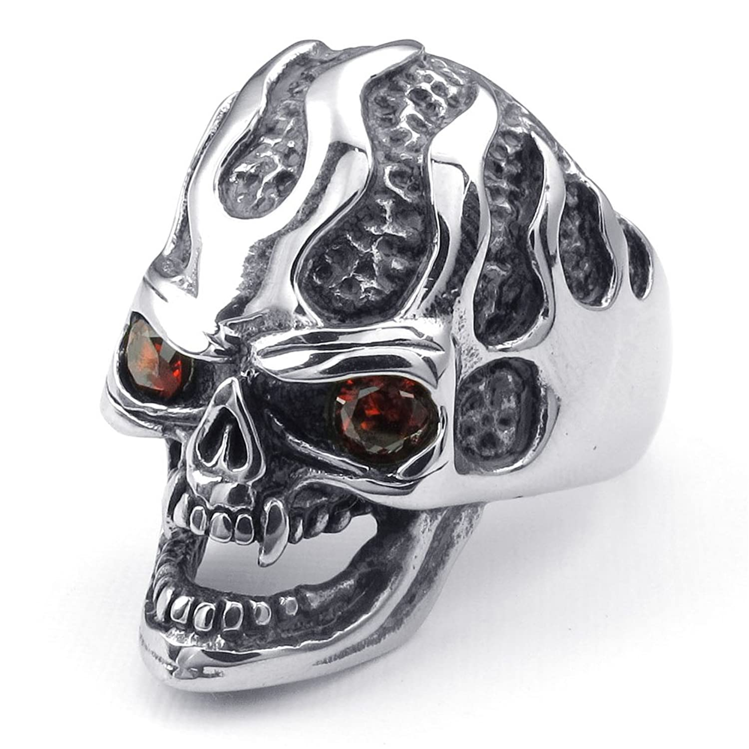 TEMEGO Jewelry Mens Cubic Zirconia Stainless Steel Ring, Vintage Gothic Skull Band, Red Black Silver