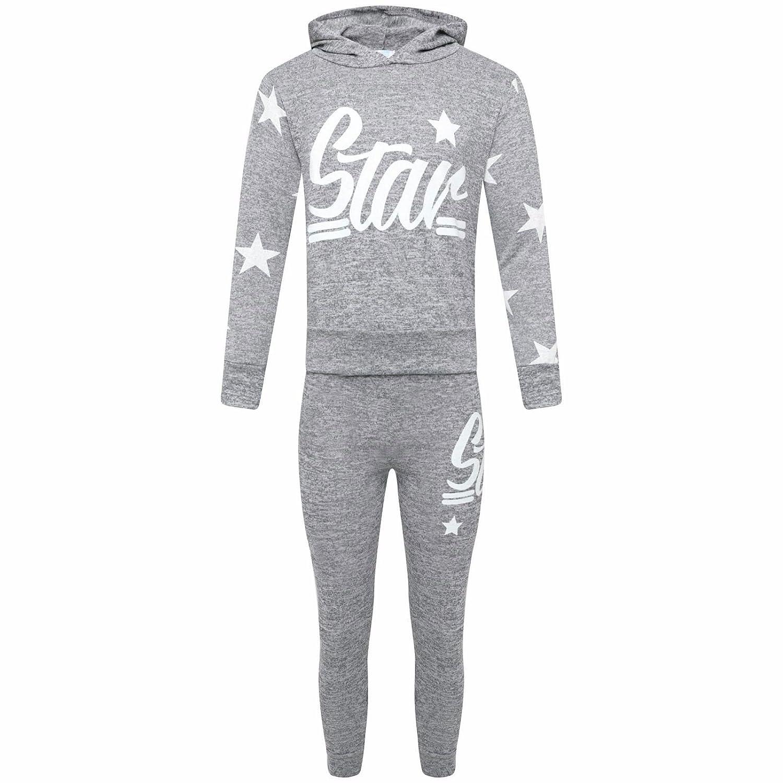 MA ONLINE Kids Star Logo and Motif Print Loungewear Girls Hooded Top Bottom Tracksuit Set 7-13 Years