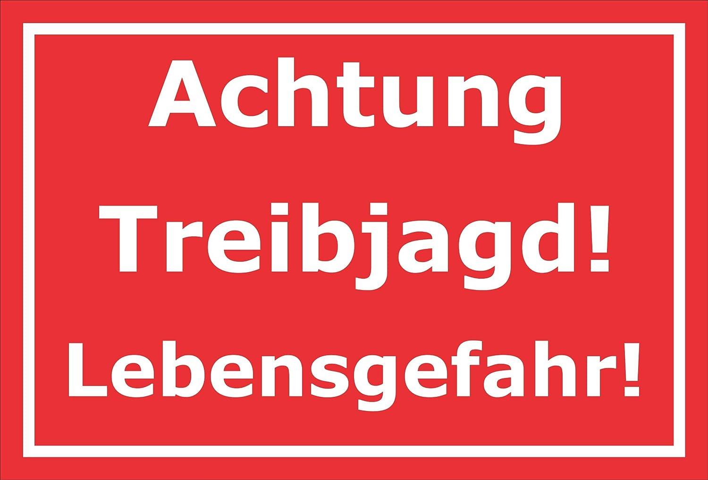3mm Aluverbund 15x10cm Bohrl/öcher S00156D 20 VAR Achtung Treibjagd Melis Folienwerkstatt Schild