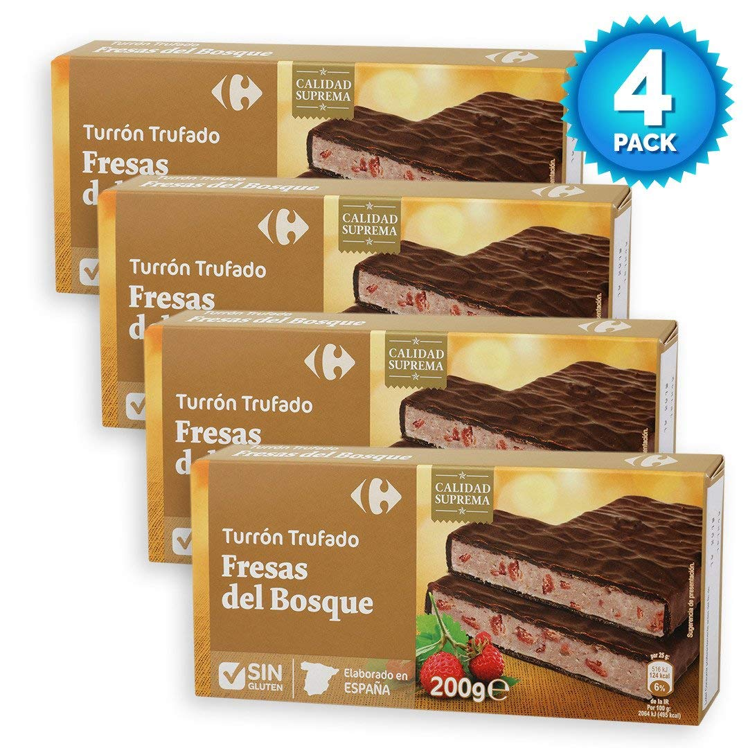 Amazon.com : 4 Pack Carrefour Chocolate-Coated Spanish Nougat with Wild Strawberries 200g - Made In Spain - Supreme Quality - Delicious Nougat - Gluten-Free ...