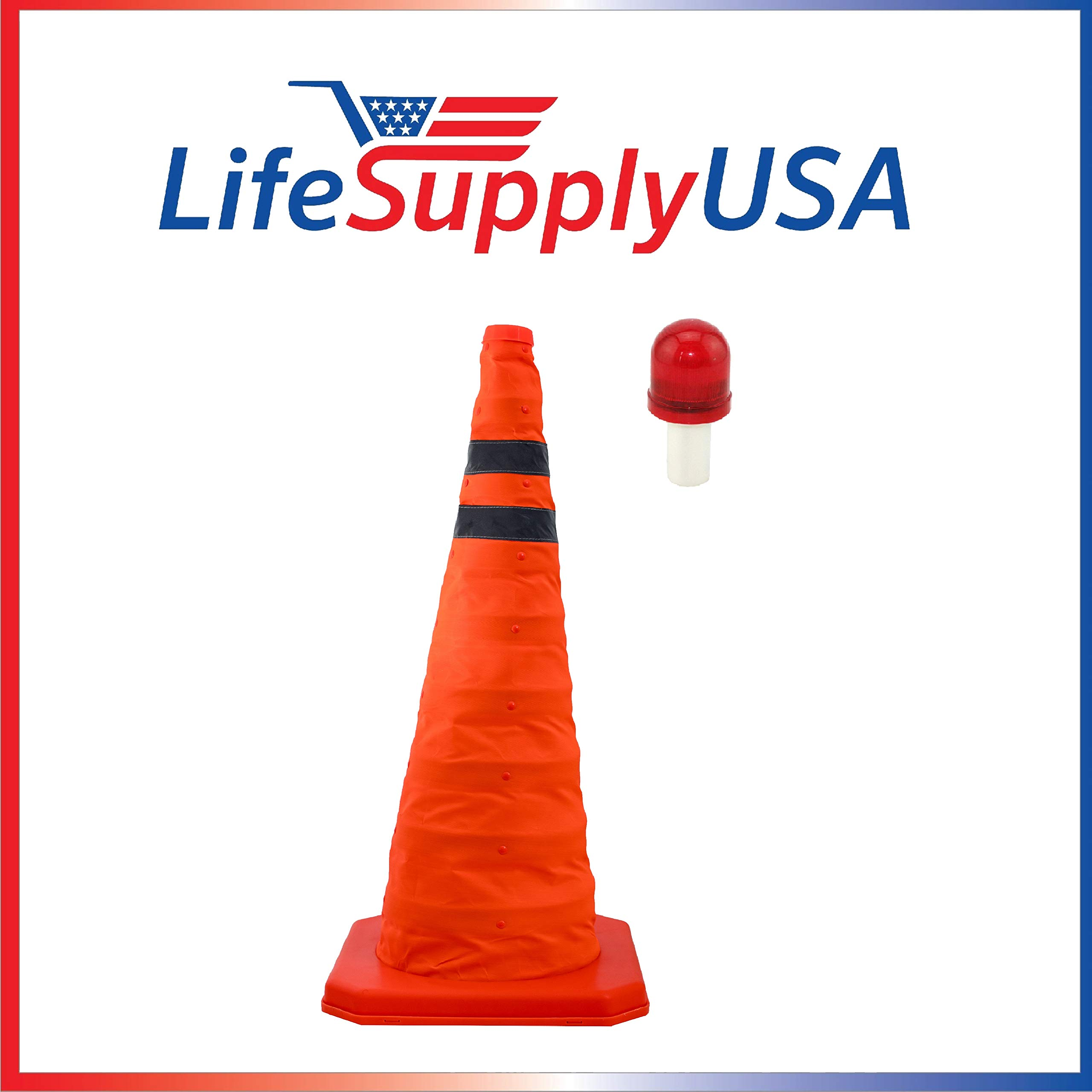 2PK Collapsible 28'' inch Reflective Multi Purpose Traffic Cone with LED Light Lamp Topper Pop up Road Safety Extendable