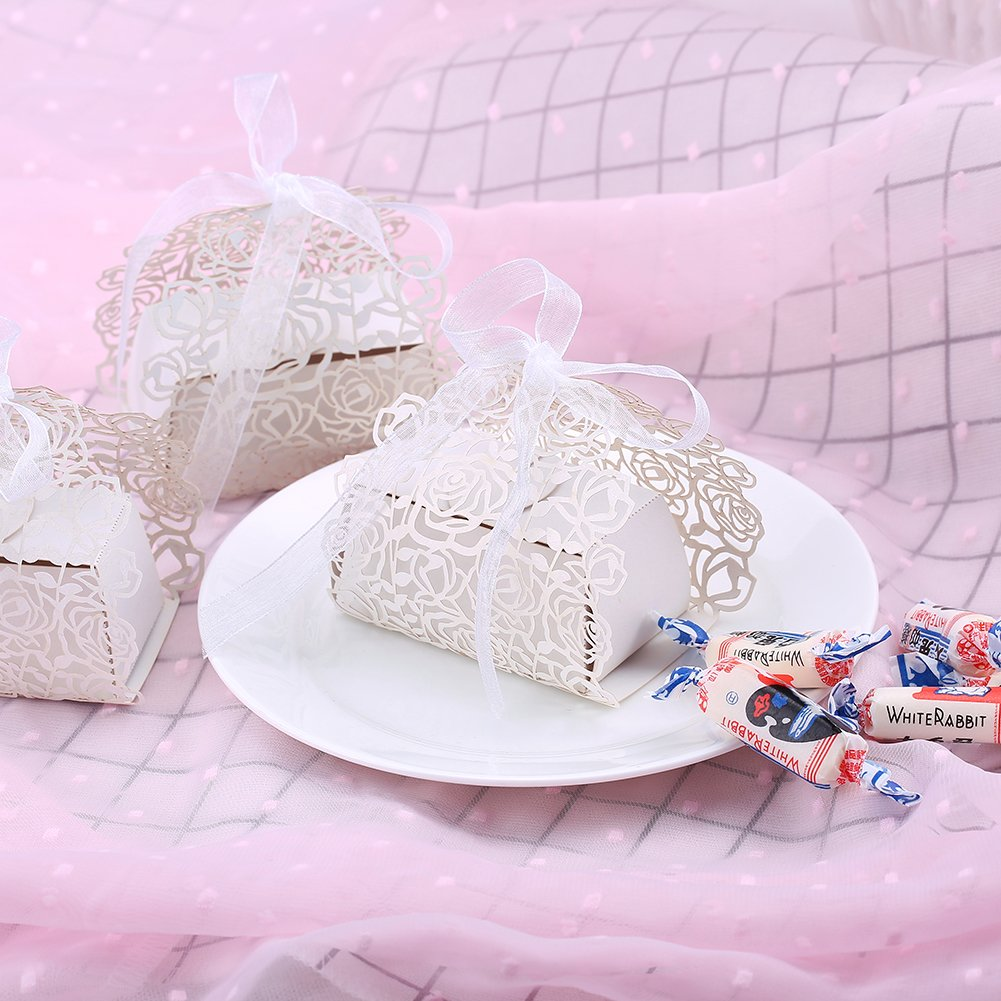 Amazon.com: 50pc Wedding Favor Candy Box,Hollow Out Rose Flowers Cut ...