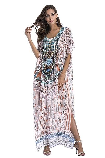 Vestido Boho Mujer Largo Talla Grande Camisolas y Pareos ...