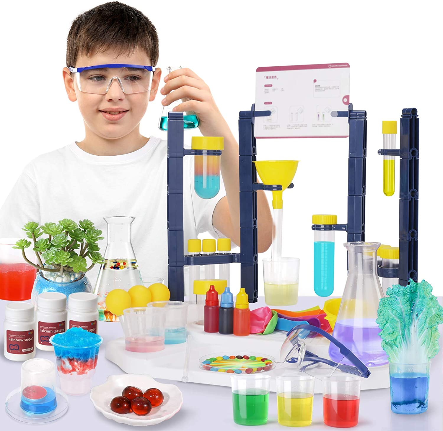 SNAEN Super Lab Science Kit with 30 Magic Scientific Experiments,STEM Education Toys for Kids Ages 3+,Build A Chemistry Station, Homeschool, Deluxe 110 Piece Set