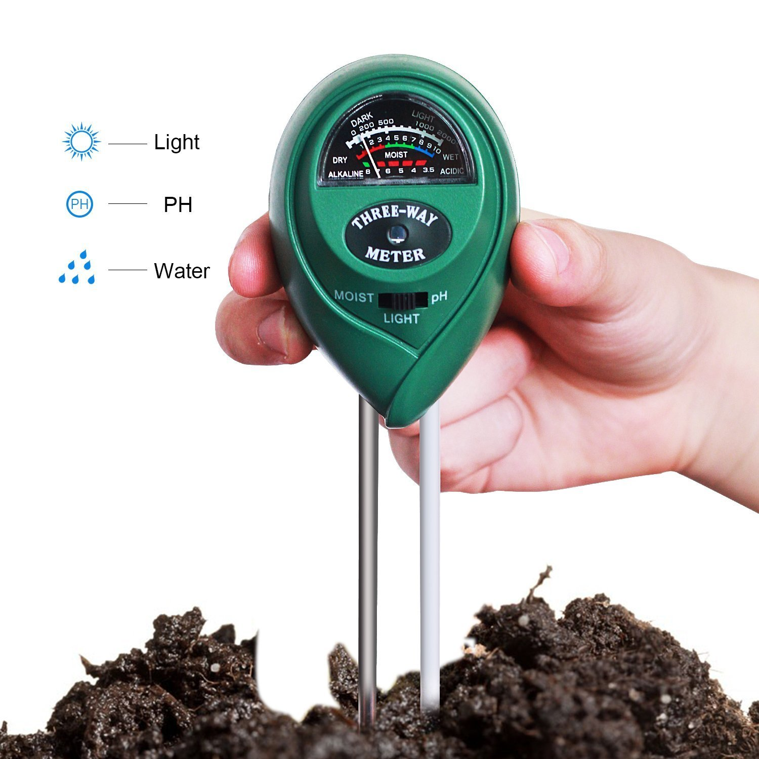 Soil PH Meter, 3-in-1 Soil Moisture Meter with Light, PH & Acidity Meter Plant Soil Tester Kits for Gardening Farming meiso