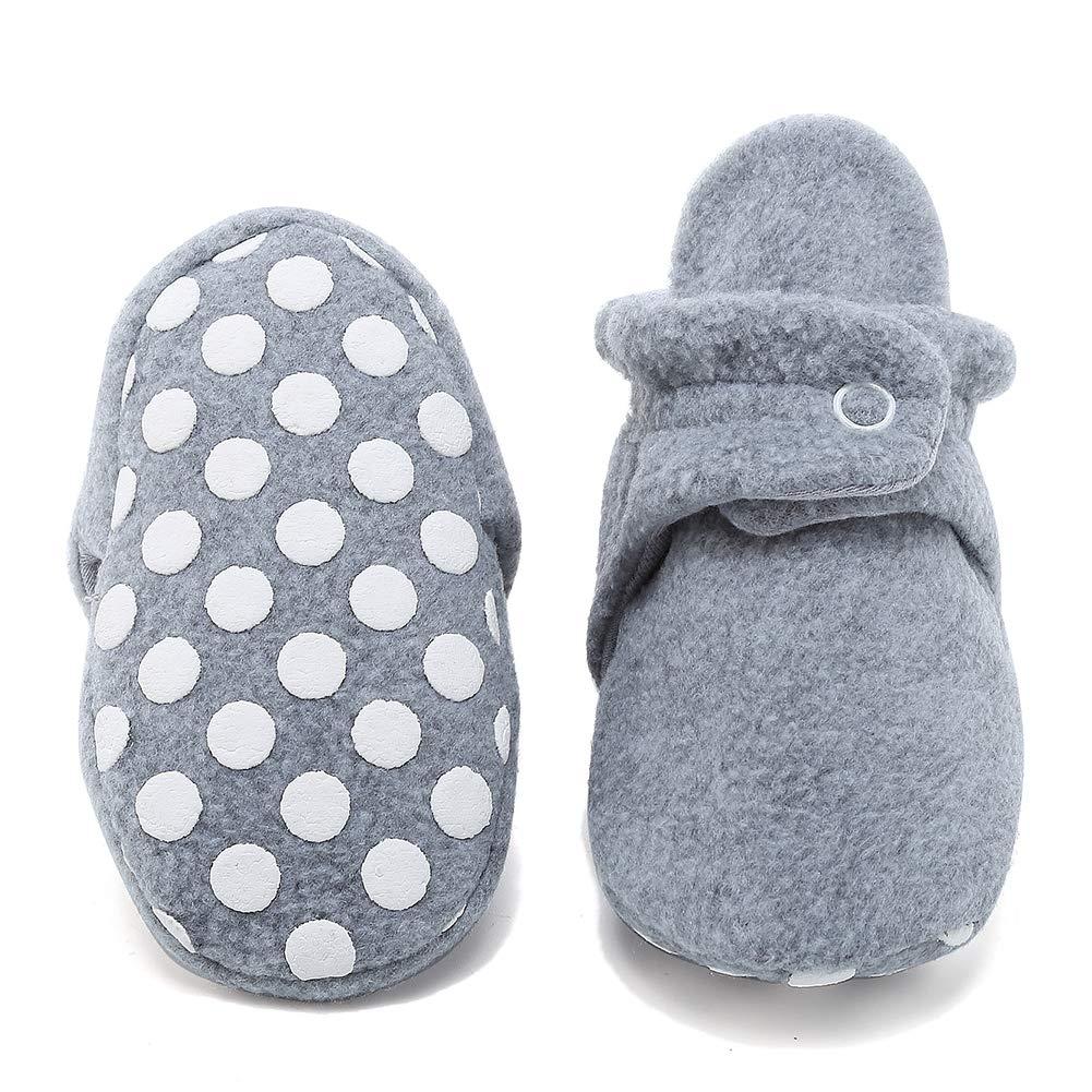 CIOR Baby Newborn Fleece Booties with Non Skid Bottom,DNDNKXBX,Button.Heather.Gray,10