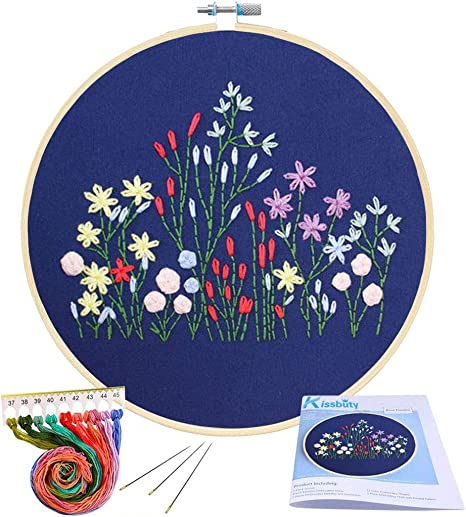 Color Threads and Tools Holding Bouquet Pattern Embroidery Starter Kit Handmade DIY Cross Stitch Kit with Embroidery Hoops