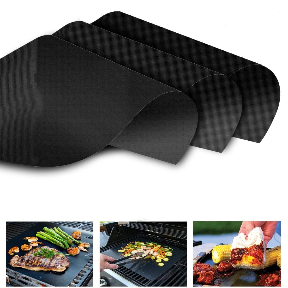 Outdoor Cooking Tools,BBQ Grill Mat Heat Resistant Grilling Accessories Non-Stick Barbecue Baking Mats with FDA Approved,Reusable and Easy to Clean for Gas,Charcoal,Electric Grill (3)