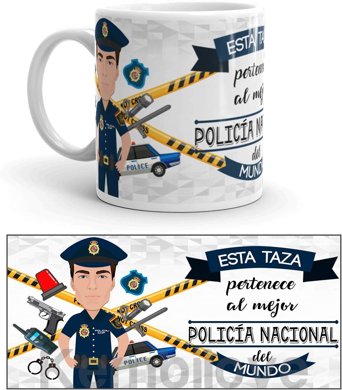 Kembilove Taza de Café del Mejor Policía Nacional del Mundo – Taza de Desayuno para la Oficina – Taza de Café y Té para Profesionales – Taza de Cerámica Impresa – Tazas