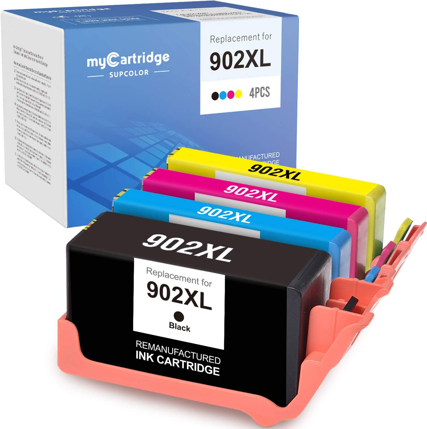 myCartridge SUPCOLOR Remanufactured Ink Cartridge Replacement for HP 902XL 902 XL to use with OfficeJet Pro 6962 6958 6978 6968 6960 6954 (High Yield 4-Pack)