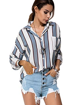 0080bc1256804 Floryday Stripe Casual Cotton Collar Long Sleeve Blouses - Blue -   Amazon.co.uk  Clothing