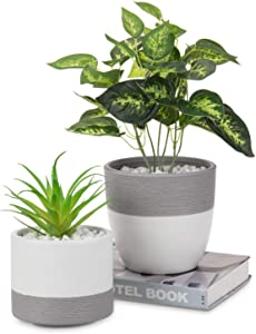 MyGift Matte White and Gray Textured Tabletop Ceramic Planter Pots, Round & Cylindrical, Set of 2