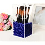 PuTwo Makeup Brush Holder Dustproof Storage Box Premium Quality 5mm Thick Acrylic Makeup Organizer, Blue Pearl, Small, 59.97 Ounce