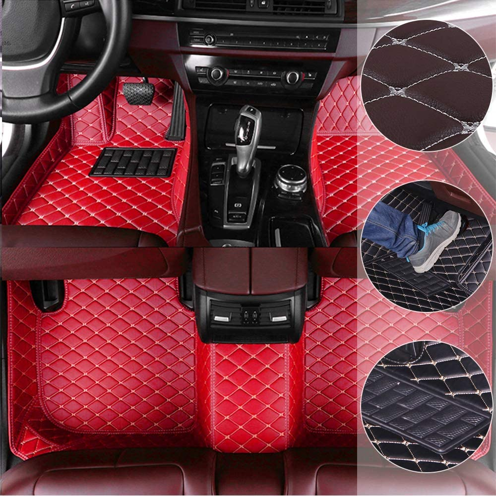 Car Floor Mats for Range Rover Sport 2010-2013 All Full Surrounded Cargo Liner All Weather Waterpoof Non-Slip Leather Heavy Duty Custom Fit Front Rear Mat Left Drive Red