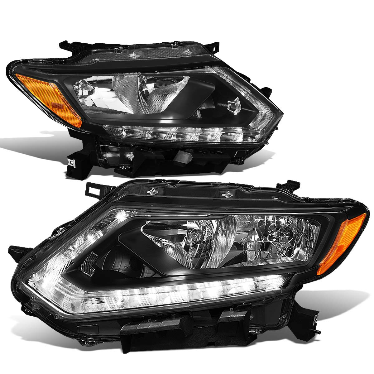 DNA Motoring HL-OH-NROG14-BK-AM Pair LED DRL Daytime Running Light Strip Headlight Lamps Set